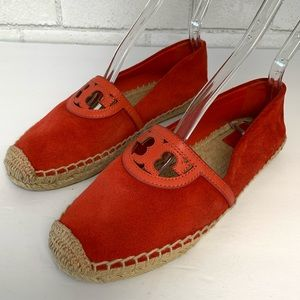 Tory Burch Coral  Suede Espadrille Flats Size 7.5